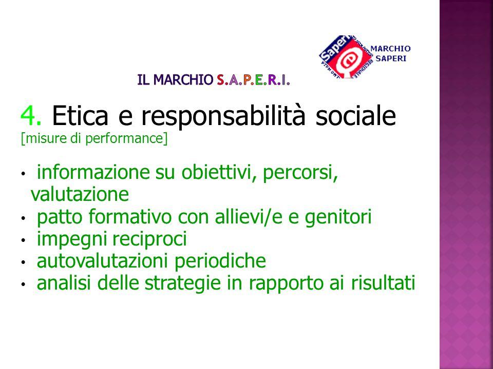4. Etica e responsabilità sociale [misure di performance] informazione su obiettivi, percorsi, valutazione patto formativo con allievi/e e genitori im
