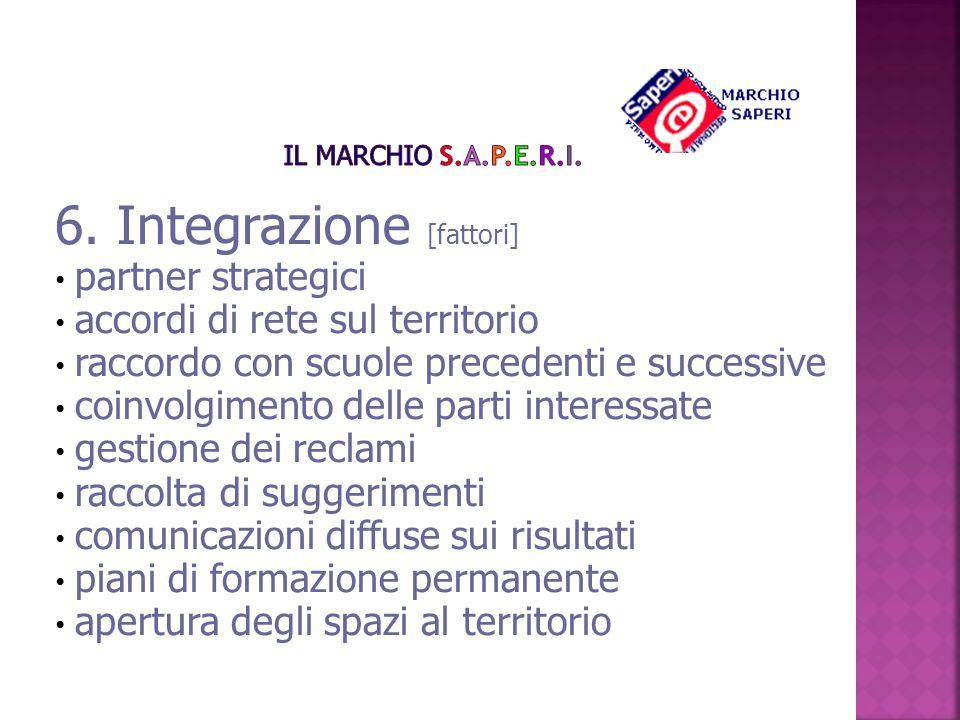 6. Integrazione [fattori] partner strategici accordi di rete sul territorio raccordo con scuole precedenti e successive coinvolgimento delle parti int