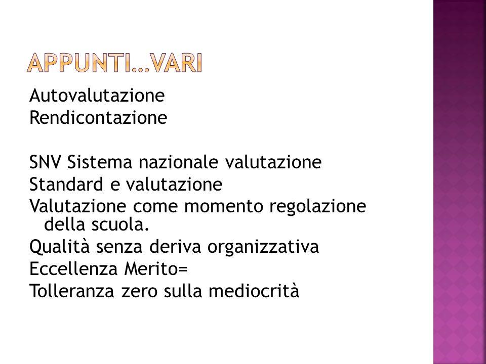 Autovalutazione Rendicontazione SNV Sistema nazionale valutazione Standard e valutazione Valutazione come momento regolazione della scuola.