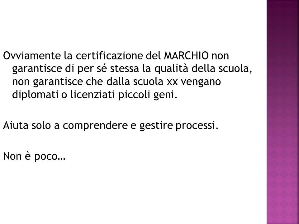 Ovviamente la certificazione del MARCHIO non garantisce di per sé stessa la qualità della scuola, non garantisce che dalla scuola xx vengano diplomati o licenziati piccoli geni.