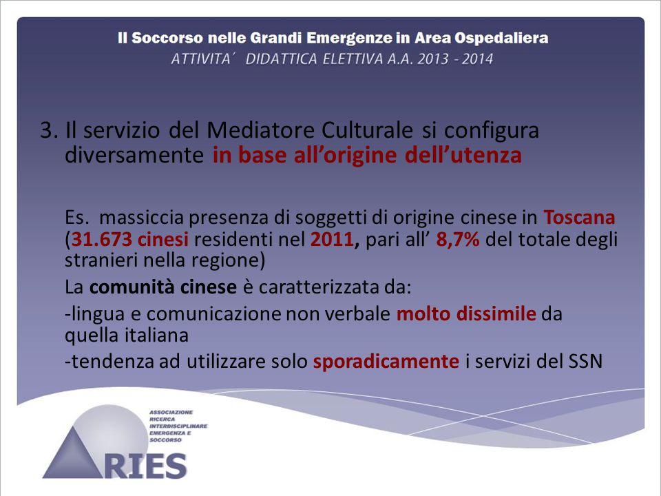 3. Il servizio del Mediatore Culturale si configura diversamente in base all'origine dell'utenza Es. massiccia presenza di soggetti di origine cinese