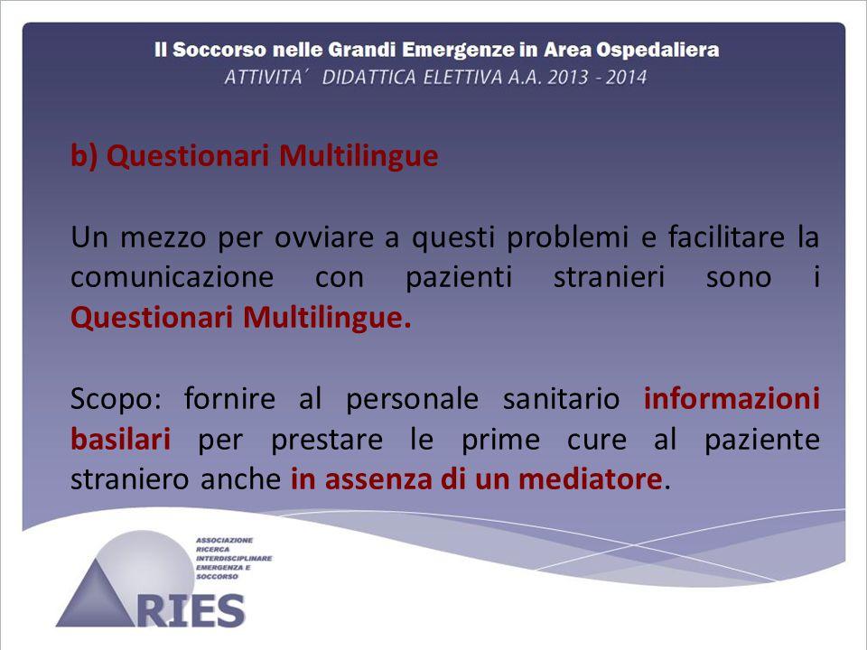 b) Questionari Multilingue Un mezzo per ovviare a questi problemi e facilitare la comunicazione con pazienti stranieri sono i Questionari Multilingue.