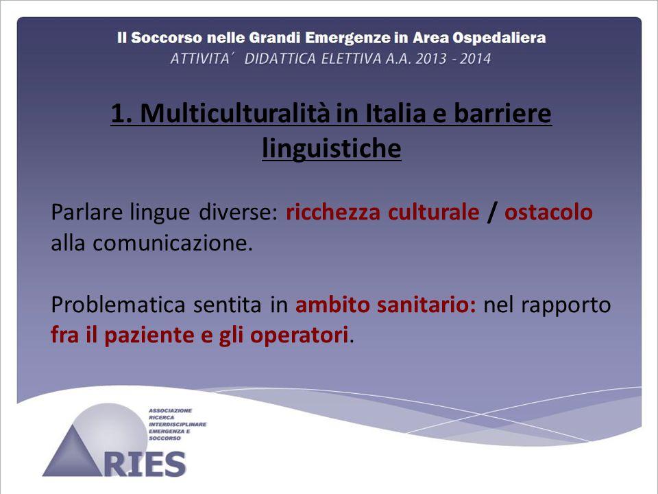 1. Multiculturalità in Italia e barriere linguistiche Parlare lingue diverse: ricchezza culturale / ostacolo alla comunicazione. Problematica sentita