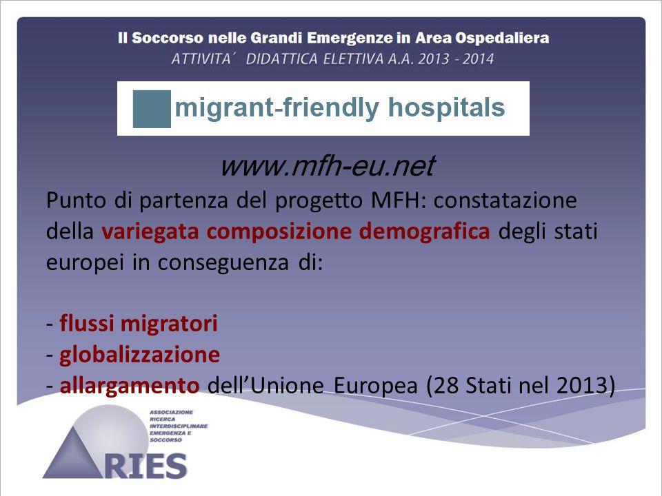 www.mfh-eu.net Punto di partenza del progetto MFH: constatazione della variegata composizione demografica degli stati europei in conseguenza di: - flussi migratori - globalizzazione - allargamento dell'Unione Europea (28 Stati nel 2013)