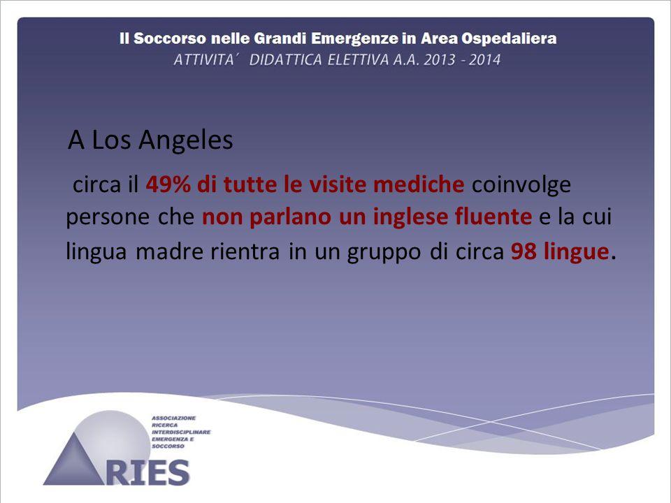 A Los Angeles circa il 49% di tutte le visite mediche coinvolge persone che non parlano un inglese fluente e la cui lingua madre rientra in un gruppo di circa 98 lingue.