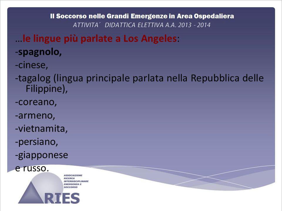 …le lingue più parlate a Los Angeles: -spagnolo, -cinese, -tagalog (lingua principale parlata nella Repubblica delle Filippine), -coreano, -armeno, -vietnamita, -persiano, -giapponese e russo.