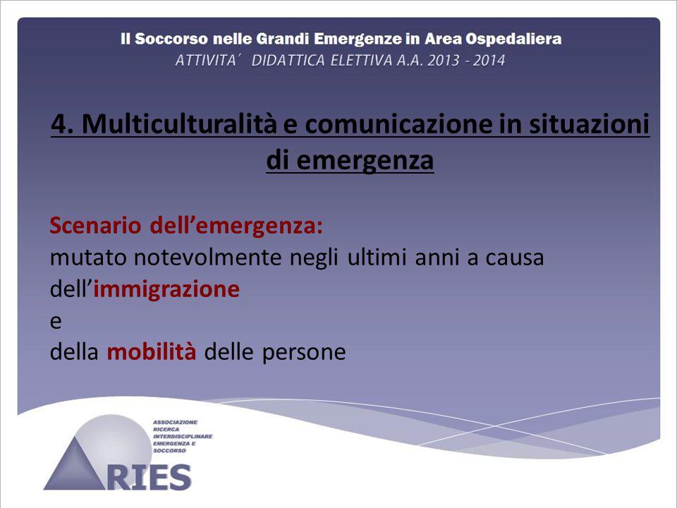 4. Multiculturalità e comunicazione in situazioni di emergenza Scenario dell'emergenza: mutato notevolmente negli ultimi anni a causa dell'immigrazion