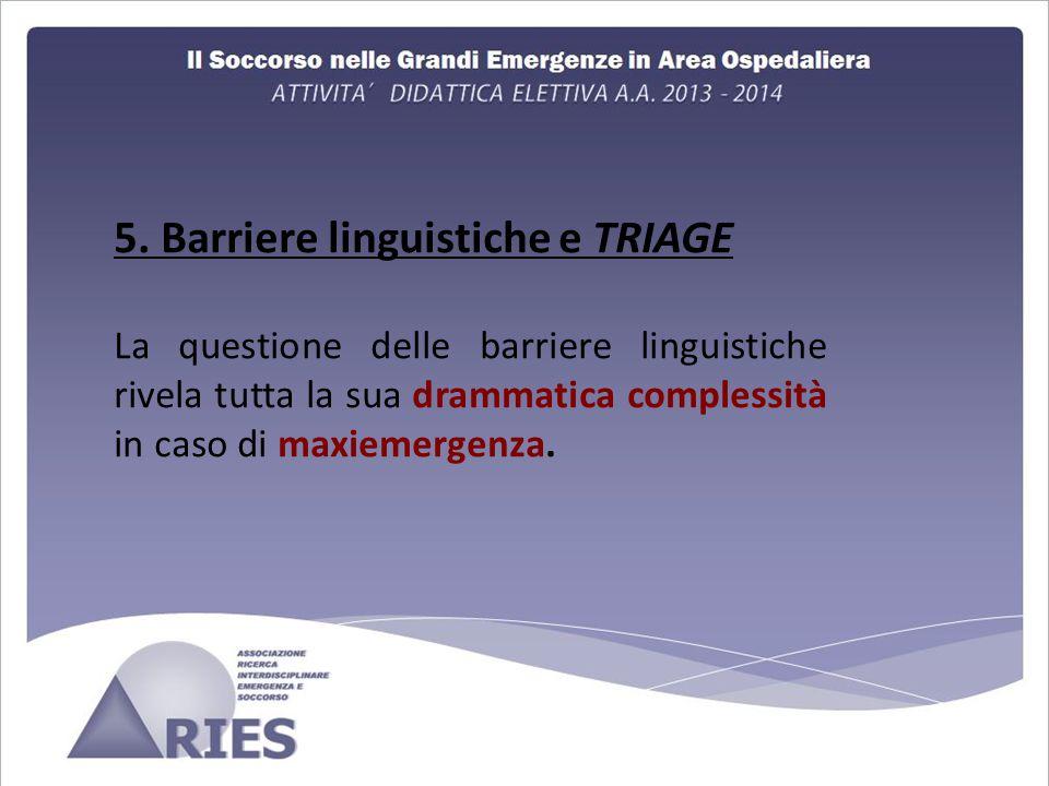 5. Barriere linguistiche e TRIAGE La questione delle barriere linguistiche rivela tutta la sua drammatica complessità in caso di maxiemergenza.