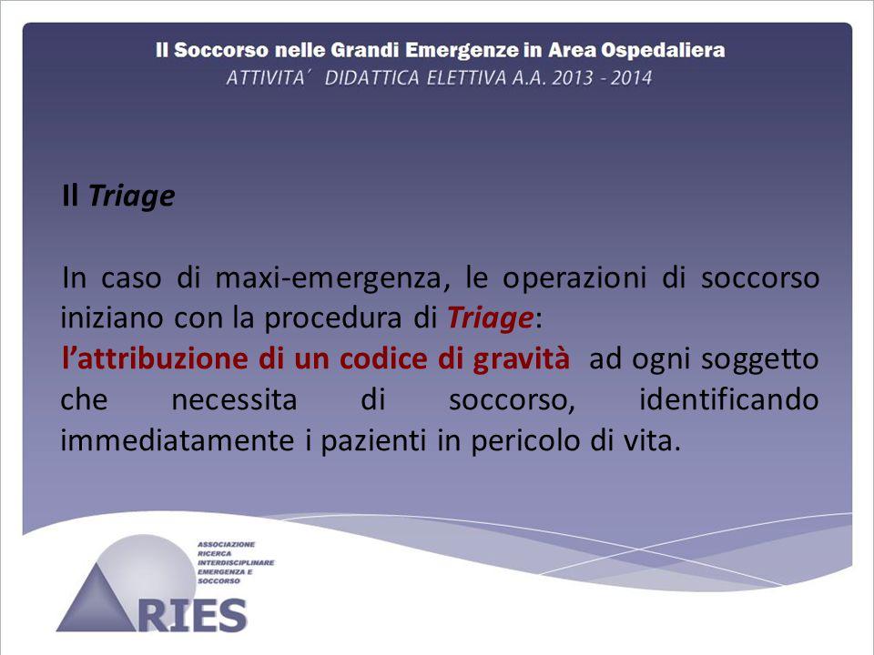 Il Triage In caso di maxi-emergenza, le operazioni di soccorso iniziano con la procedura di Triage: l'attribuzione di un codice di gravità ad ogni soggetto che necessita di soccorso, identificando immediatamente i pazienti in pericolo di vita.