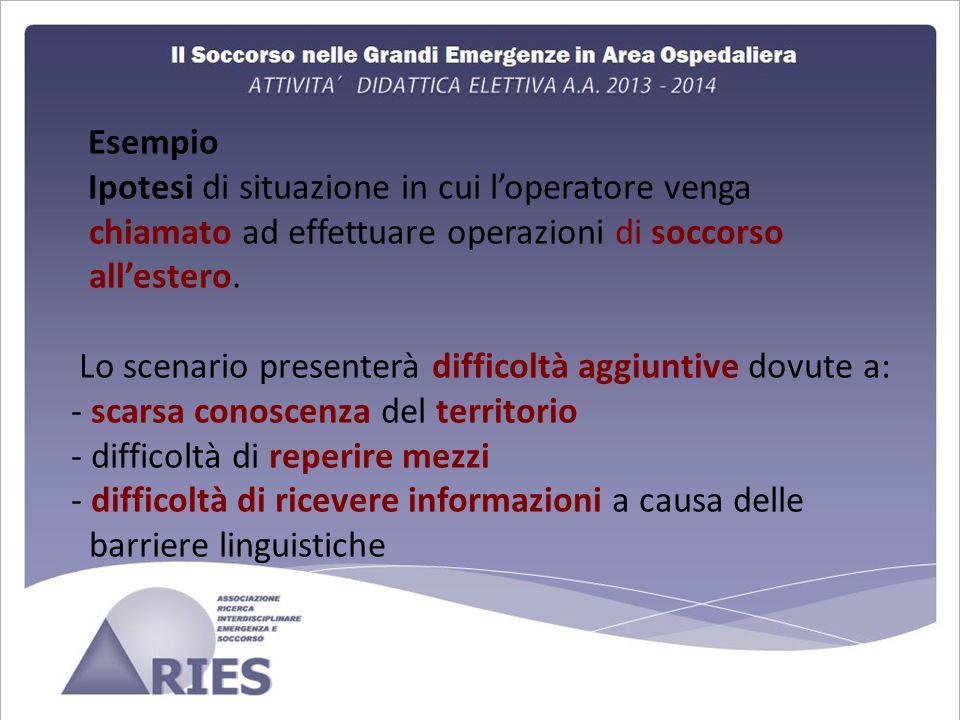 Esempio Ipotesi di situazione in cui l'operatore venga chiamato ad effettuare operazioni di soccorso all'estero.