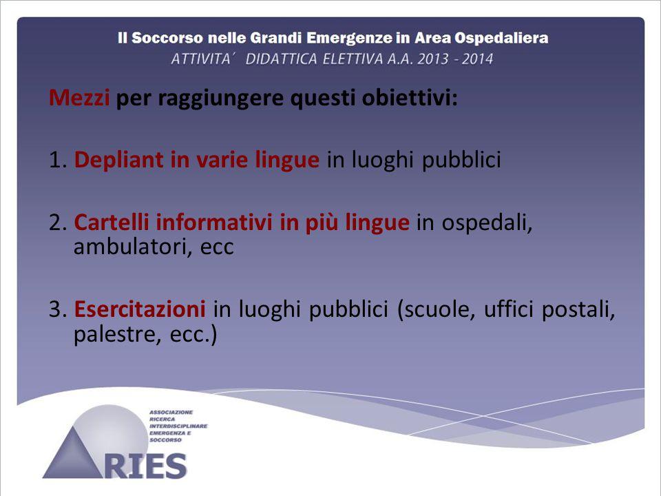 Mezzi per raggiungere questi obiettivi: 1.Depliant in varie lingue in luoghi pubblici 2.
