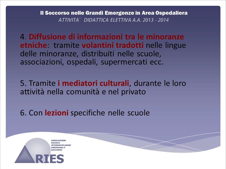 4. Diffusione di informazioni tra le minoranze etniche: tramite volantini tradotti nelle lingue delle minoranze, distribuiti nelle scuole, associazion