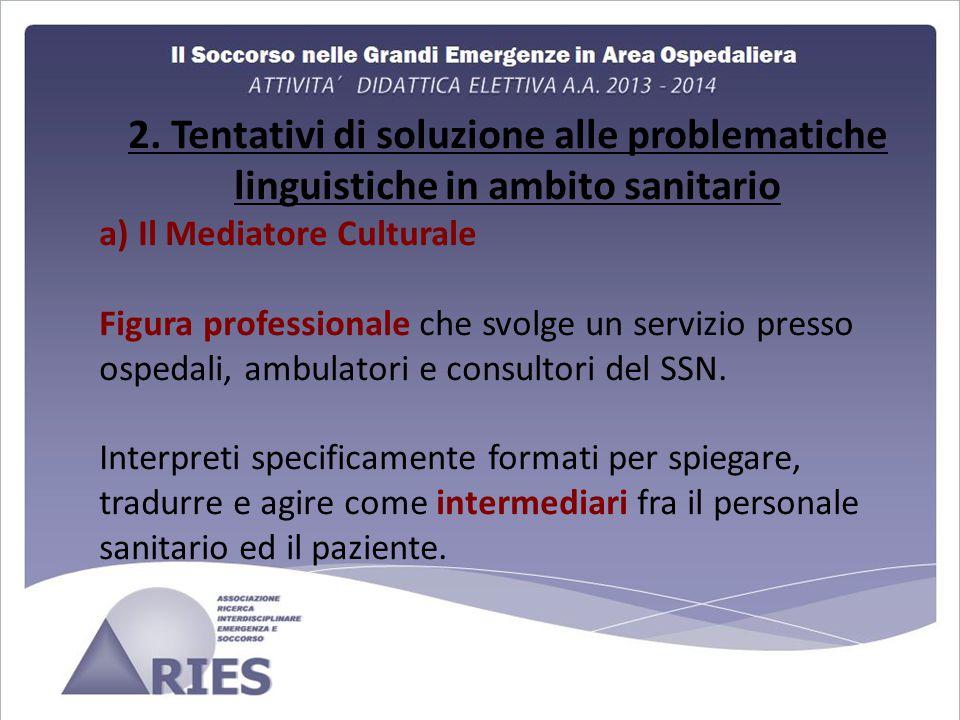 2. Tentativi di soluzione alle problematiche linguistiche in ambito sanitario a) Il Mediatore Culturale Figura professionale che svolge un servizio pr