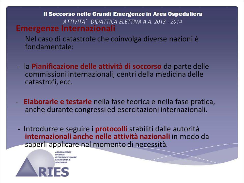 Emergenze Internazionali Nel caso di catastrofe che coinvolga diverse nazioni è fondamentale: - la Pianificazione delle attività di soccorso da parte delle commissioni internazionali, centri della medicina delle catastrofi, ecc.