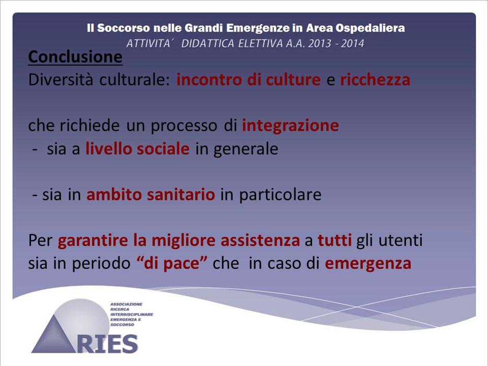 Conclusione Diversità culturale: incontro di culture e ricchezza che richiede un processo di integrazione - sia a livello sociale in generale - sia in ambito sanitario in particolare Per garantire la migliore assistenza a tutti gli utenti sia in periodo di pace che in caso di emergenza