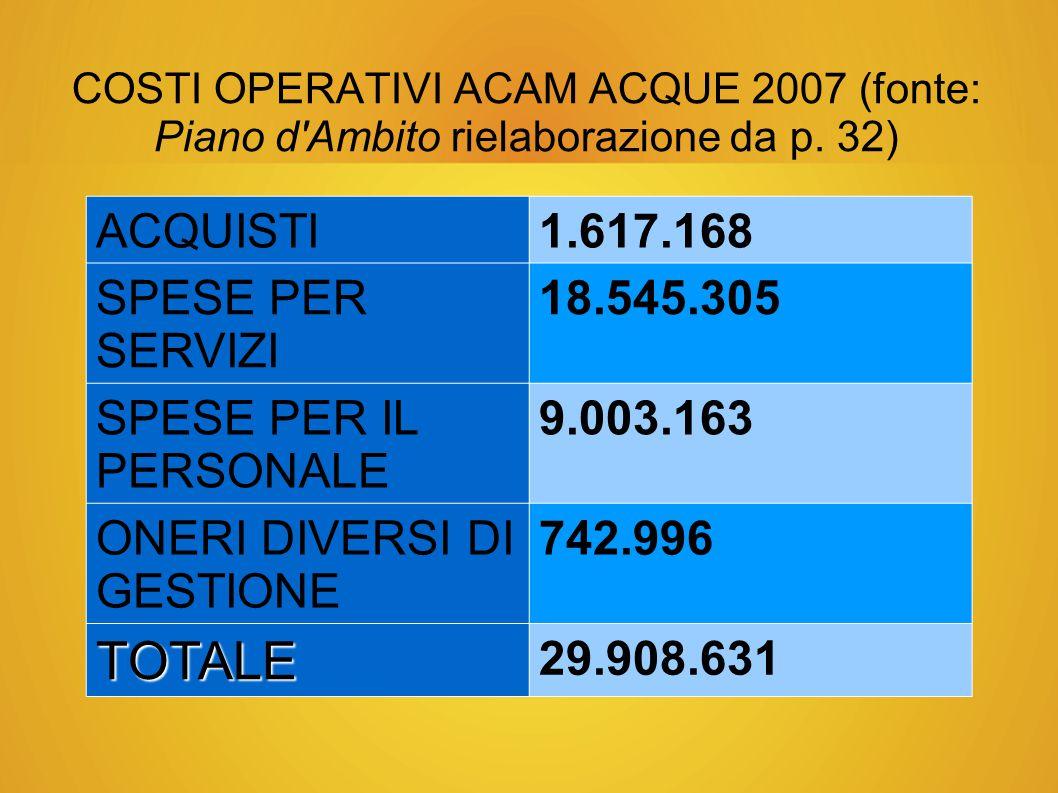 COSTI OPERATIVI ACAM ACQUE 2007 (fonte: Piano d Ambito rielaborazione da p.