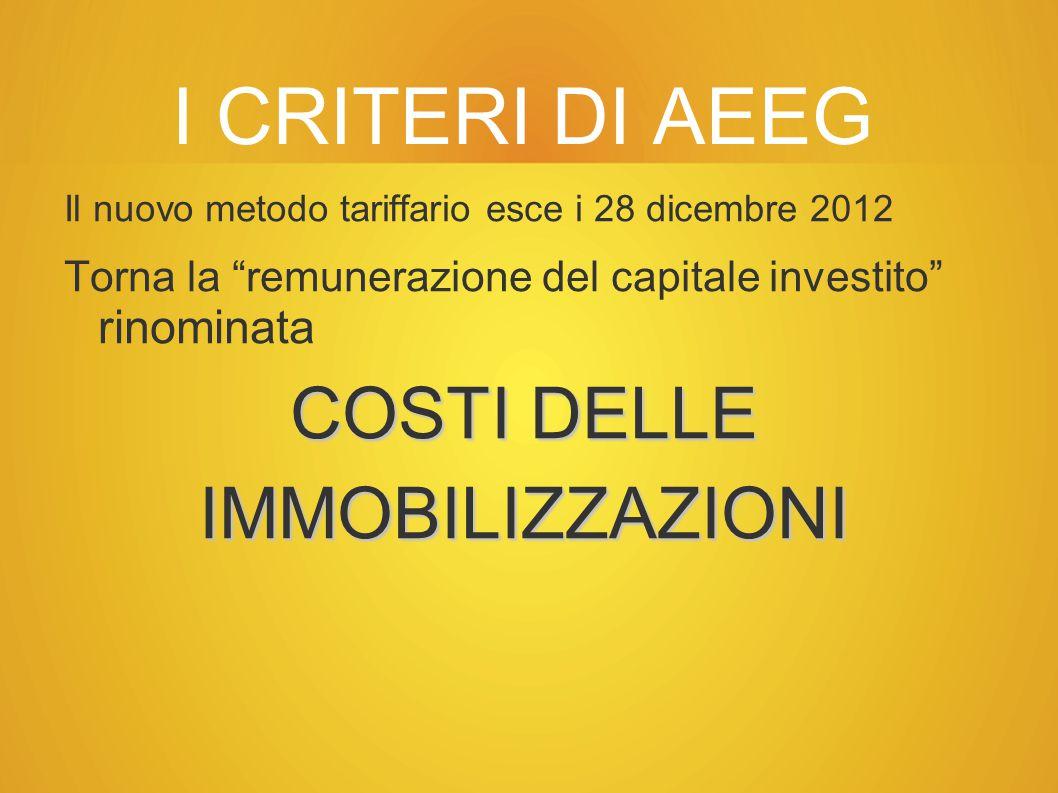I CRITERI DI AEEG Il nuovo metodo tariffario esce i 28 dicembre 2012 Torna la remunerazione del capitale investito rinominata COSTI DELLE IMMOBILIZZAZIONI