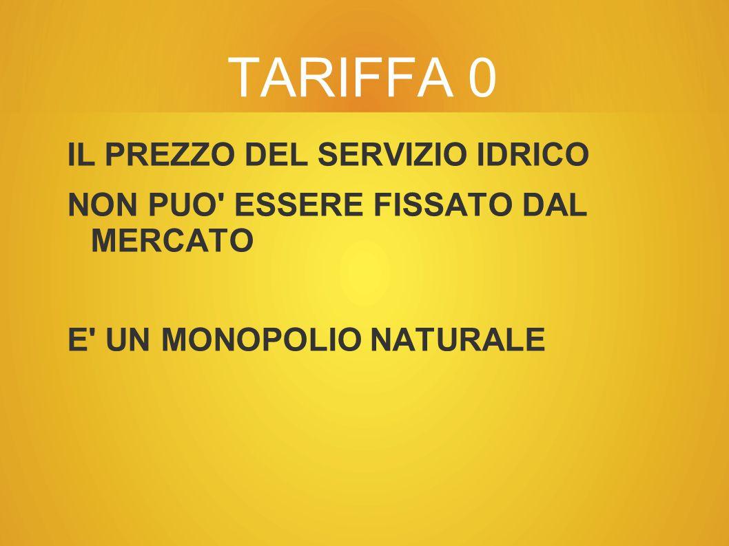 TARIFFA 0 IL PREZZO DEL SERVIZIO IDRICO NON PUO ESSERE FISSATO DAL MERCATO E UN MONOPOLIO NATURALE