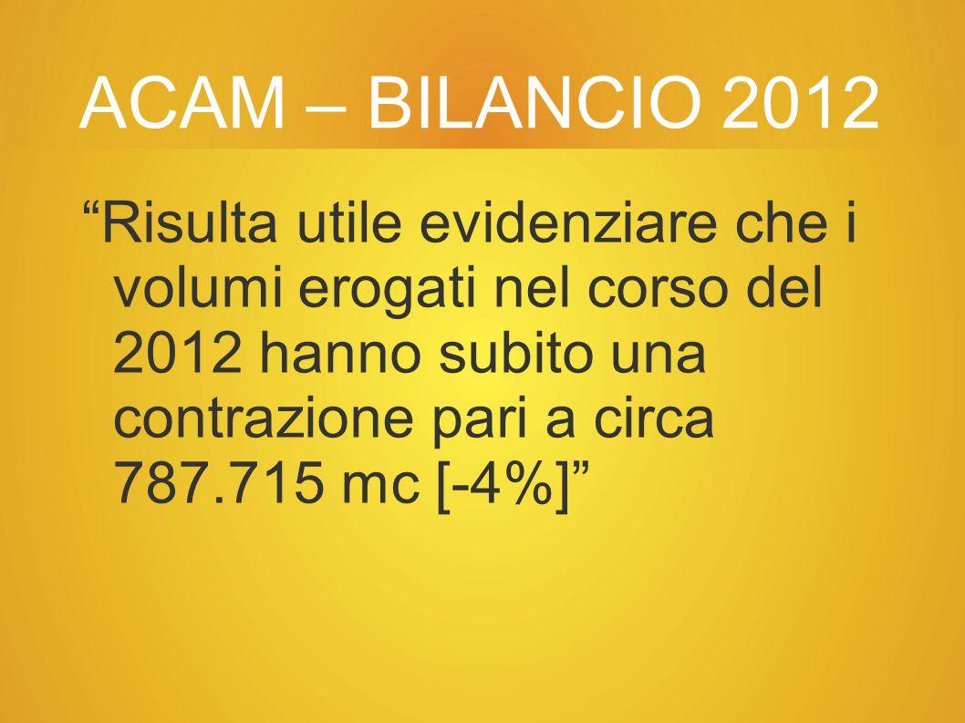 ACAM – BILANCIO 2012 Risulta utile evidenziare che i volumi erogati nel corso del 2012 hanno subito una contrazione pari a circa 787.715 mc [-4%]