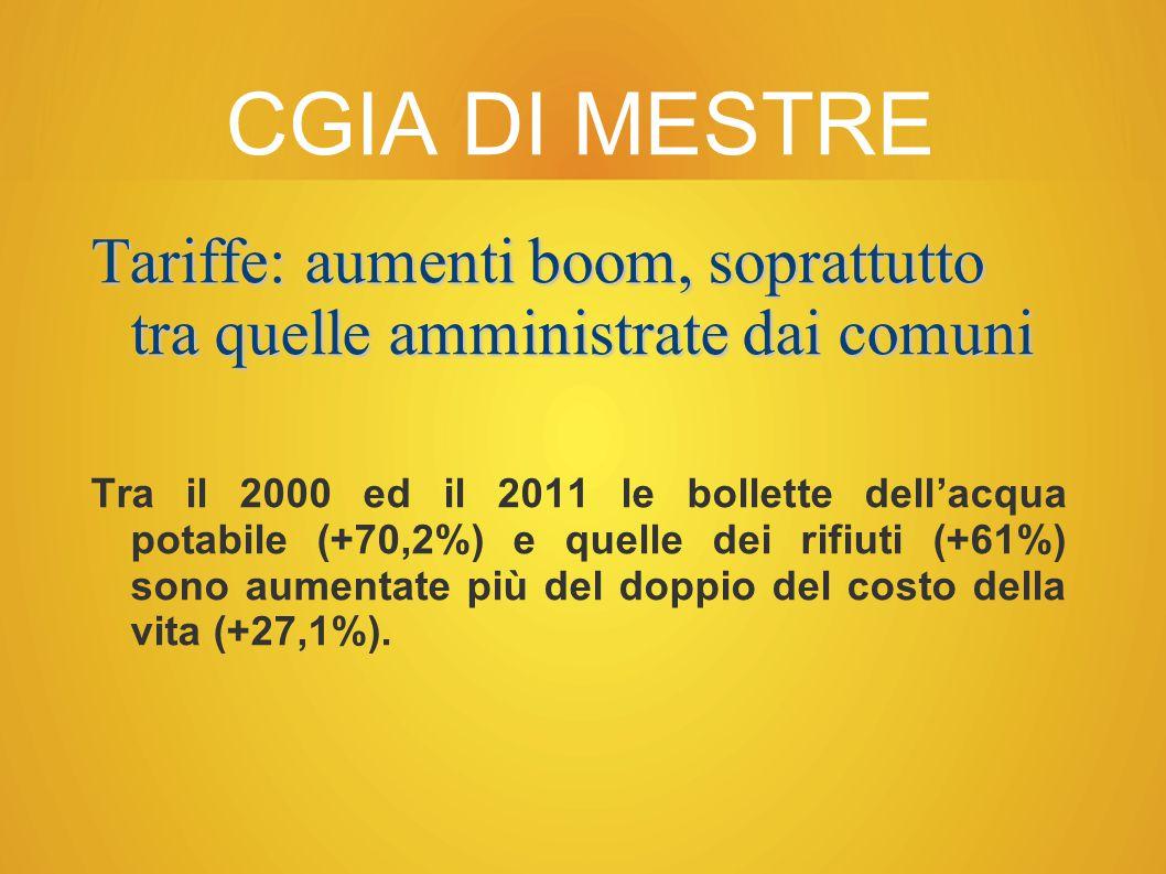 CGIA DI MESTRE Tariffe: aumenti boom, soprattutto tra quelle amministrate dai comuni Tra il 2000 ed il 2011 le bollette dell'acqua potabile (+70,2%) e quelle dei rifiuti (+61%) sono aumentate più del doppio del costo della vita (+27,1%).