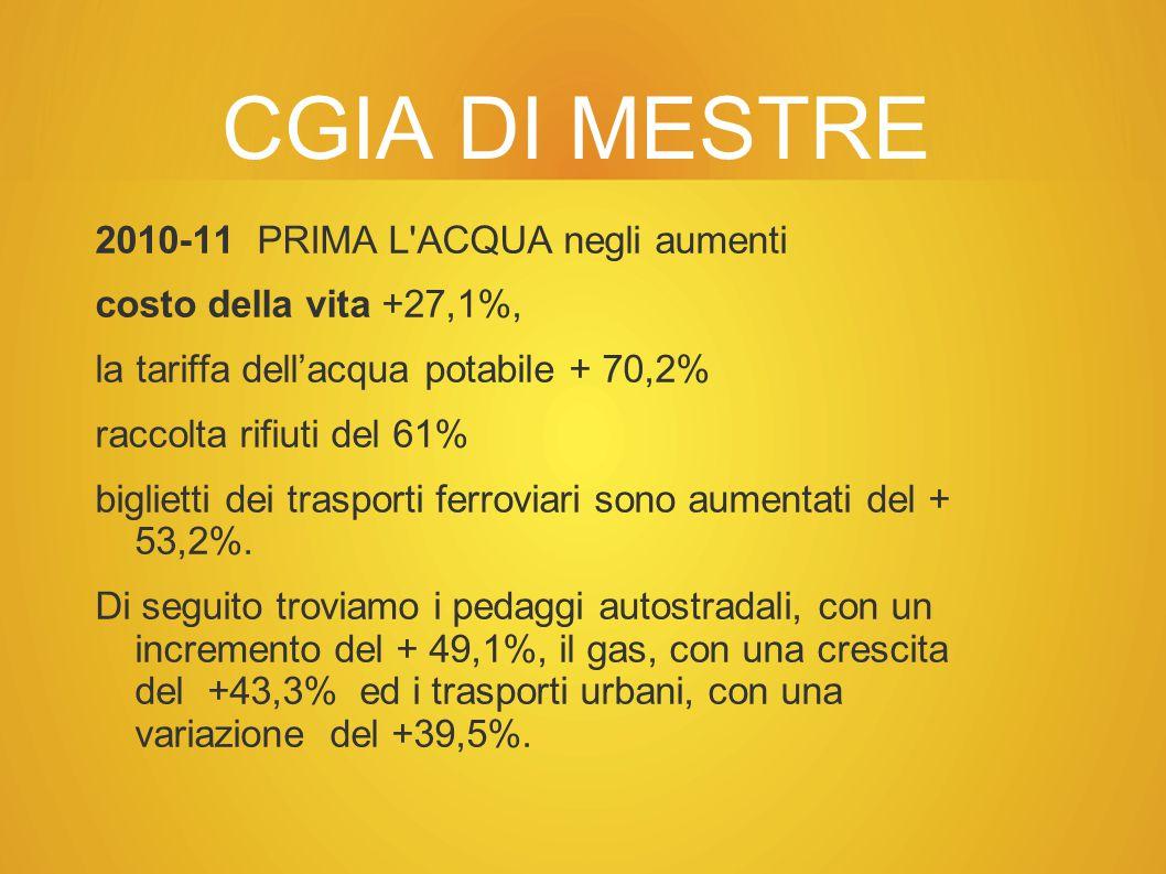 CGIA DI MESTRE 2010-11 PRIMA L ACQUA negli aumenti costo della vita +27,1%, la tariffa dell'acqua potabile + 70,2% raccolta rifiuti del 61% biglietti dei trasporti ferroviari sono aumentati del + 53,2%.