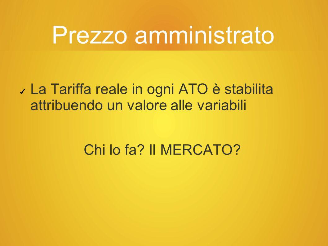 Prezzo amministrato ✔ La Tariffa reale in ogni ATO è stabilita attribuendo un valore alle variabili Chi lo fa.