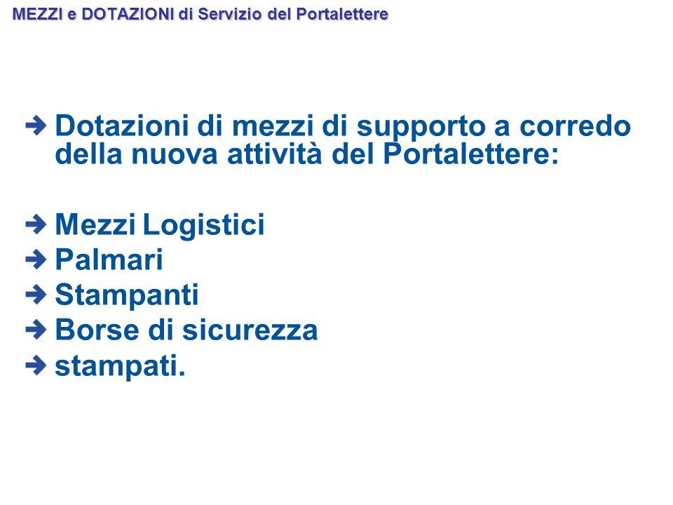MEZZI e DOTAZIONI di Servizio del Portalettere Dotazioni di mezzi di supporto a corredo della nuova attività del Portalettere: Mezzi Logistici Palmari Stampanti Borse di sicurezza stampati.