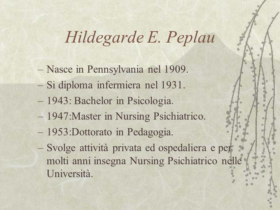 Hildegarde E. Peplau –Nasce in Pennsylvania nel 1909. –Si diploma infermiera nel 1931. –1943: Bachelor in Psicologia. –1947:Master in Nursing Psichiat