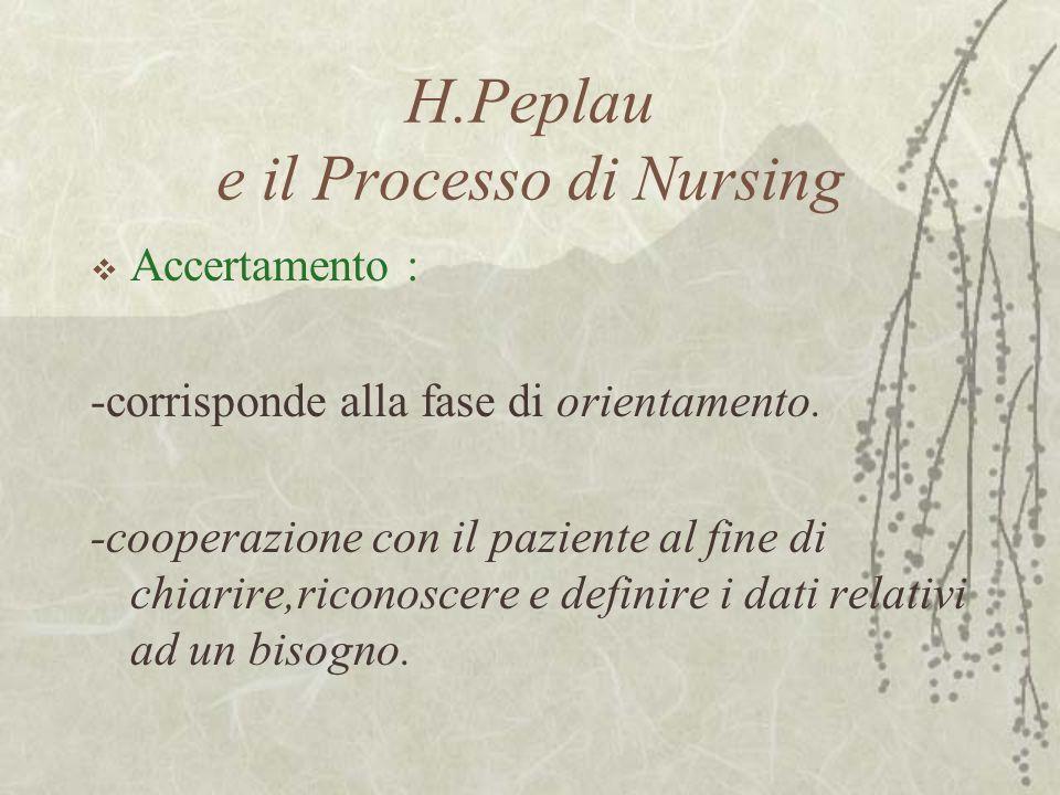 H.Peplau e il Processo di Nursing  Accertamento : -corrisponde alla fase di orientamento. -cooperazione con il paziente al fine di chiarire,riconosce