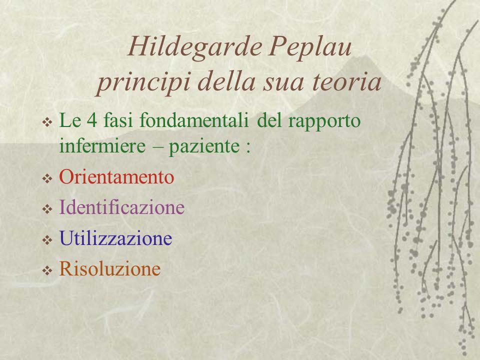 Hildegarde Peplau principi della sua teoria  Le 4 fasi fondamentali del rapporto infermiere – paziente :  Orientamento  Identificazione  Utilizzazione  Risoluzione