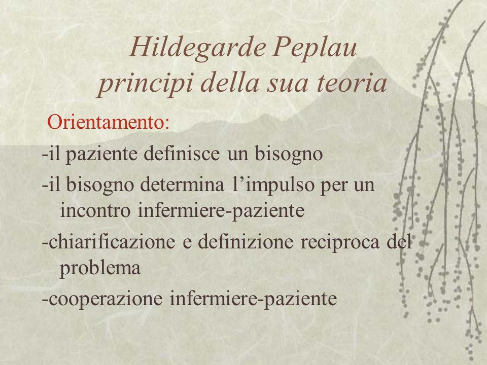 Hildegarde Peplau principi della sua teoria Orientamento: -il paziente definisce un bisogno -il bisogno determina l'impulso per un incontro infermiere