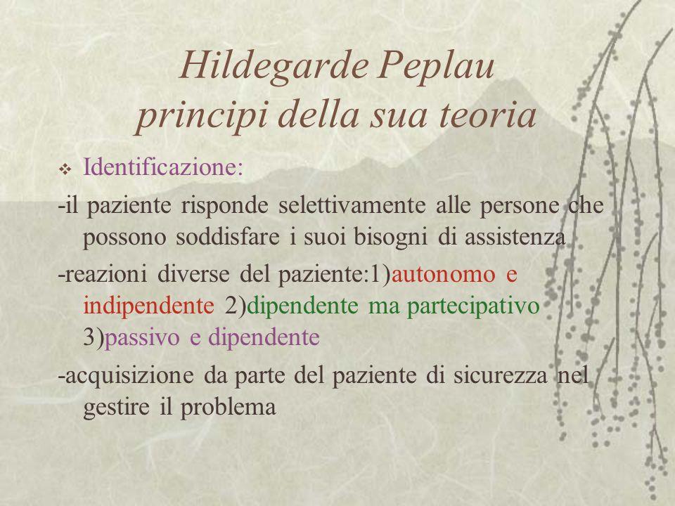 Hildegarde Peplau principi della sua teoria  Identificazione: -il paziente risponde selettivamente alle persone che possono soddisfare i suoi bisogni