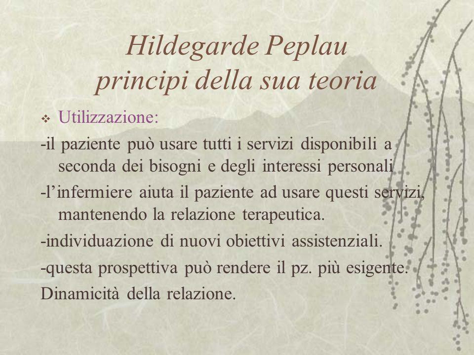 Hildegarde Peplau principi della sua teoria  Utilizzazione: -il paziente può usare tutti i servizi disponibili a seconda dei bisogni e degli interess