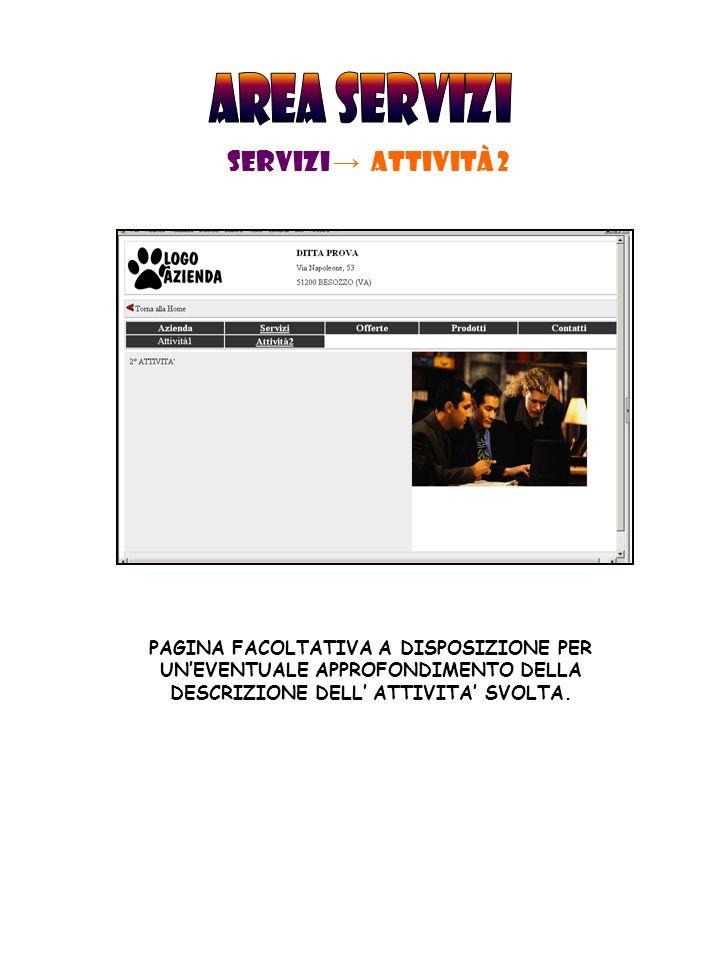 SERVIZI → Attività 2 PAGINA FACOLTATIVA A DISPOSIZIONE PER UN'EVENTUALE APPROFONDIMENTO DELLA DESCRIZIONE DELL' ATTIVITA' SVOLTA.