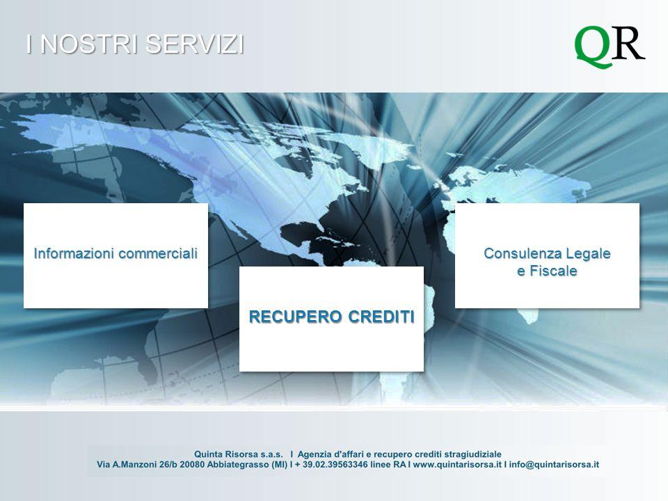 I NOSTRI SERVIZI Informazioni commerciali RECUPERO CREDITI Consulenza Legale e Fiscale