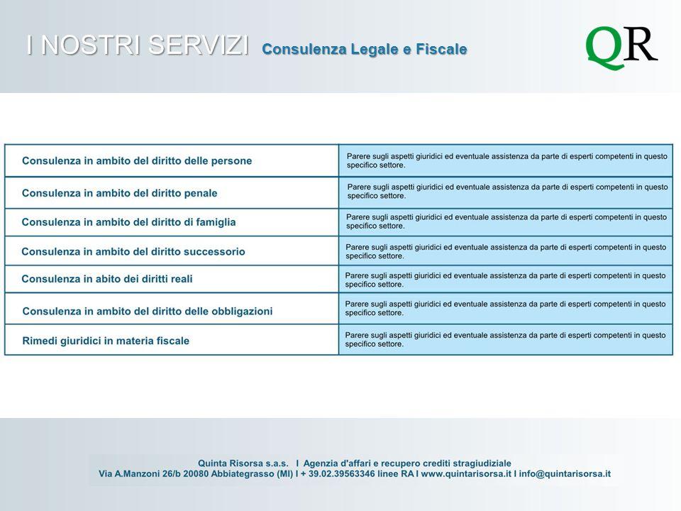 I NOSTRI SERVIZI Consulenza Legale e Fiscale
