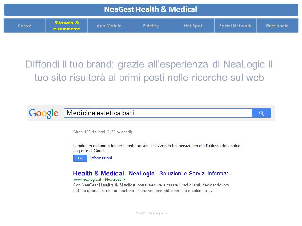 Grafica personalizzata accattivante per promuovere al meglio il tuo centro www.nealogic.it NeaGest Health & Medical Cosa è Sito web & e-commerce App MobileFidelityHot SpotSocial NetworkGestionale