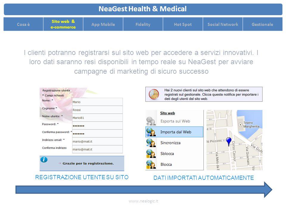 SITO WEB DOPO SITO WEB PRIMA Aggiorna i contenuti del sito con pochi click grazie all'editor facilitato di NeaGest www.nealogic.it NeaGest Health & Medical Cosa è Sito web & e-commerce App MobileFidelityHot SpotSocial NetworkGestionale 3 CLICK