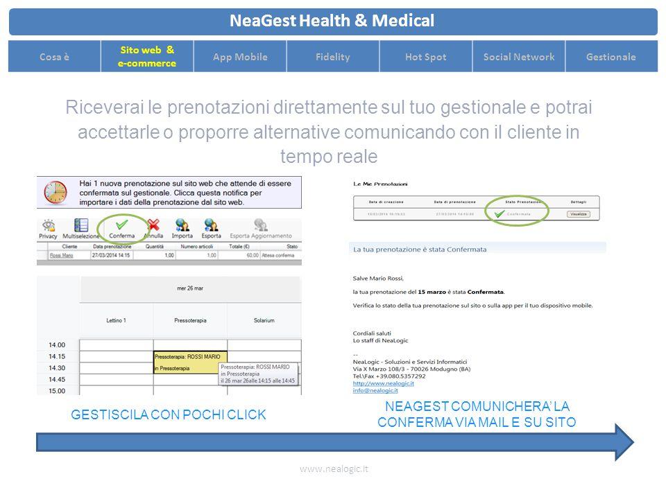 I clienti possono prenotare o acquistare prestazioni e prodotti direttamente dal sito web www.nealogic.it NeaGest Health & Medical Cosa è Sito web & e-commerce App MobileFidelityHot SpotSocial NetworkGestionale PRENOTAZIONE DAL SITO WEB