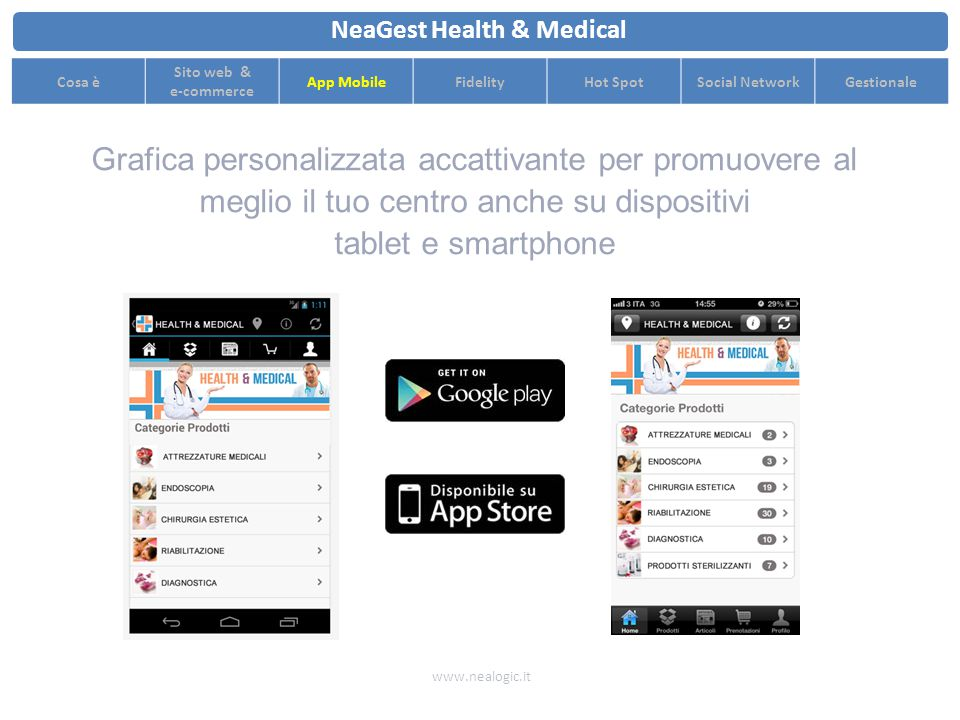 www.nealogic.it NeaGest Health & Medical Cosa è Sito web & e-commerce App MobileFidelityHot SpotSocial NetworkGestionale App Mobile