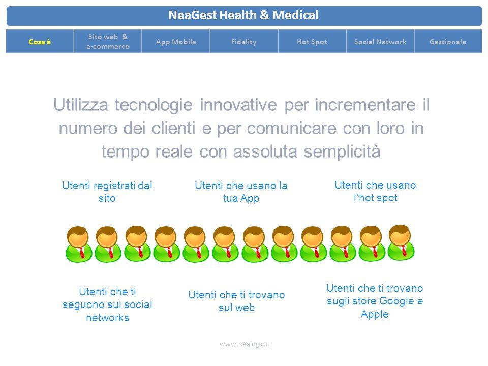 Ottimizza il flusso di clienti con strategie di pricing dinamiche e comunicazione in tempo reale www.nealogic.it NeaGest Health & Medical Cosa è Sito web & e-commerce App MobileFidelityHot SpotSocial NetworkGestionale