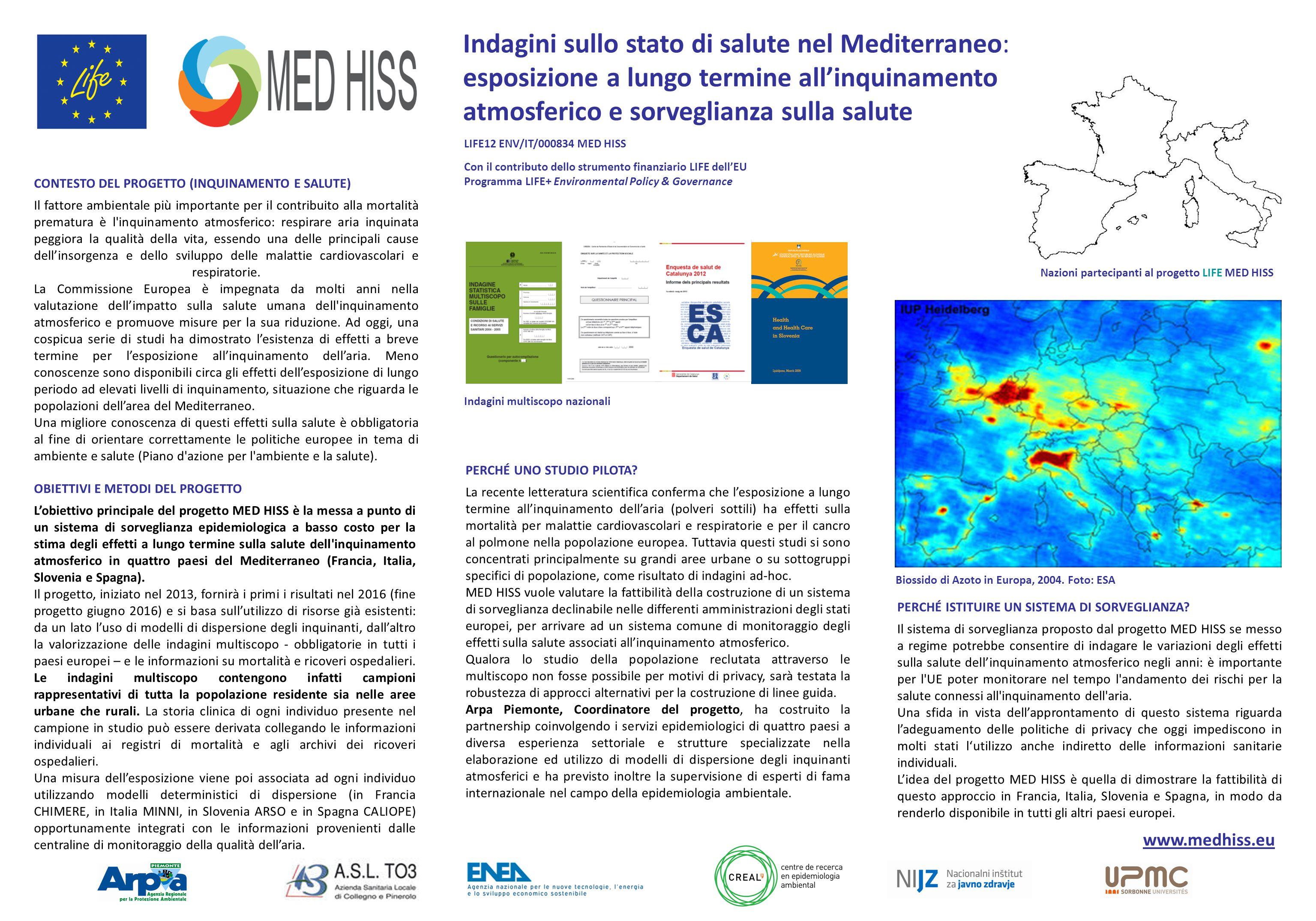 Indagini sullo stato di salute nel Mediterraneo: esposizione a lungo termine all'inquinamento atmosferico e sorveglianza sulla salute CONTESTO DEL PRO