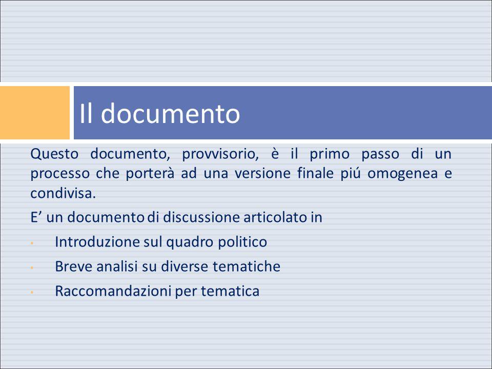 Questo documento, provvisorio, è il primo passo di un processo che porterà ad una versione finale piú omogenea e condivisa.