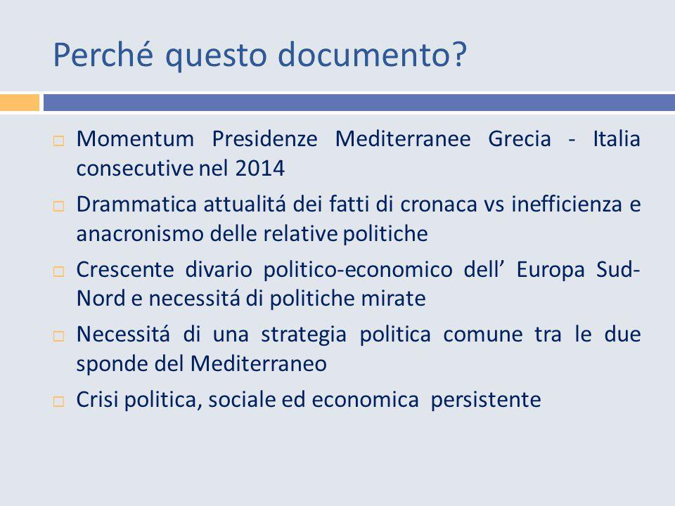 Obiettivi  Stimolare riflessione e azione politica UE (a partire dal semestre di presidenza italiana) centrata su e a partire dal Mediterraneo, con particolare attenzione al tema migrazioni e sviluppo.