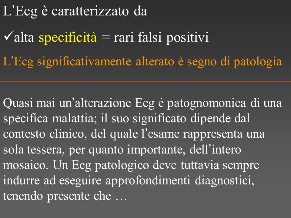 L ' Ecg è caratterizzato da alta specificità = rari falsi positivi L ' Ecg significativamente alterato è segno di patologia Quasi mai un ' alterazione Ecg é patognomonica di una specifica malattia; il suo significato dipende dal contesto clinico, del quale l ' esame rappresenta una sola tessera, per quanto importante, dell ' intero mosaico.