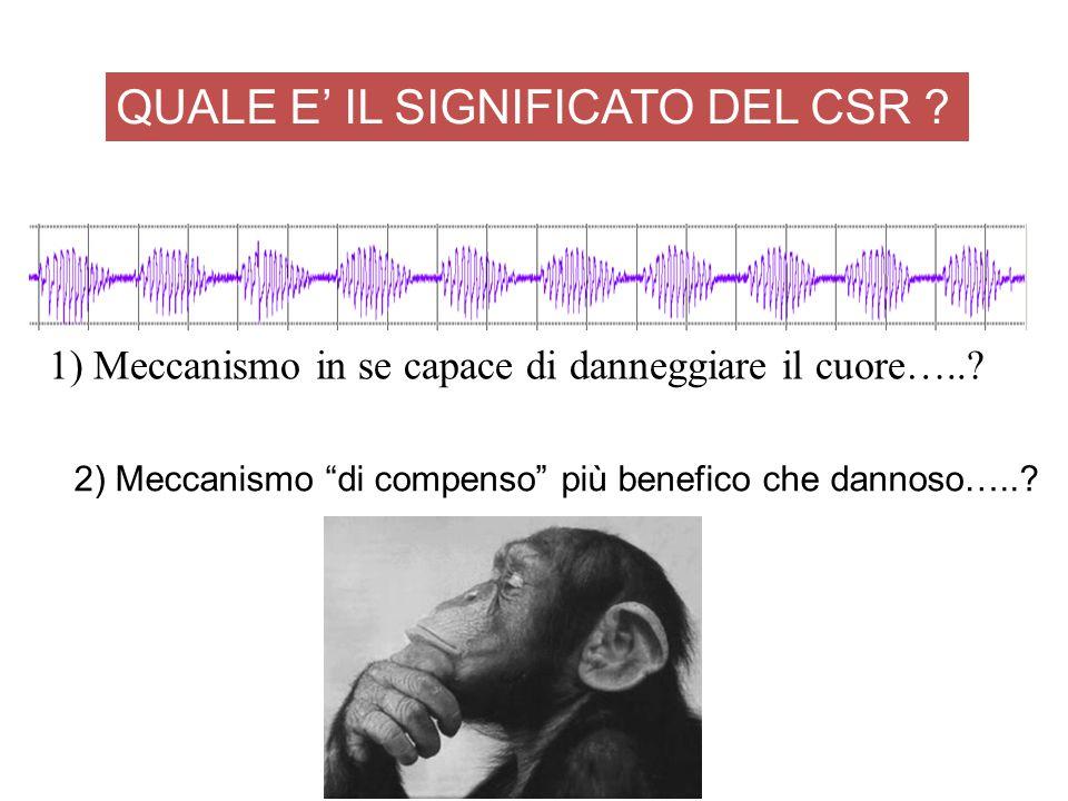 """2) Meccanismo """"di compenso"""" più benefico che dannoso…..? QUALE E' IL SIGNIFICATO DEL CSR ? 1) Meccanismo in se capace di danneggiare il cuore…..?"""