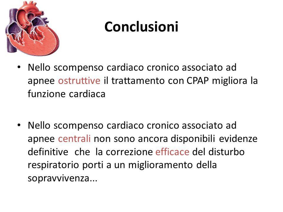 Conclusioni Nello scompenso cardiaco cronico associato ad apnee ostruttive il trattamento con CPAP migliora la funzione cardiaca Nello scompenso cardi