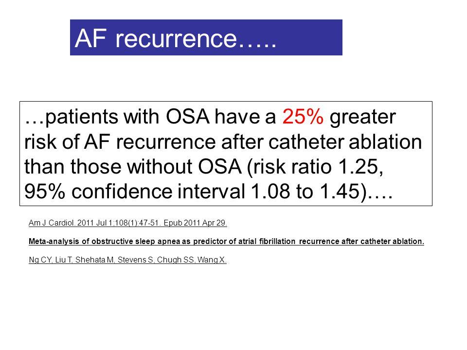 Am J Cardiol. 2011 Jul 1;108(1):47-51. Epub 2011 Apr 29. Meta-analysis of obstructive sleep apnea as predictor of atrial fibrillation recurrence after