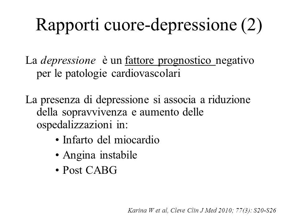 Rapporti cuore-depressione (2) La depressione è un fattore prognostico negativo per le patologie cardiovascolari La presenza di depressione si associa