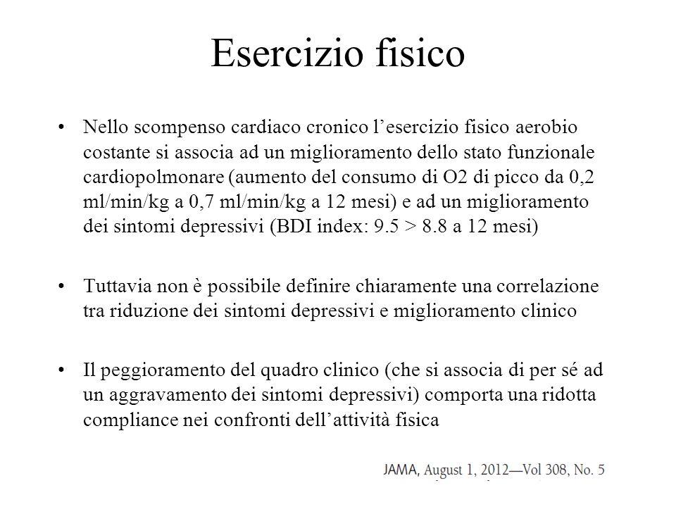 Esercizio fisico Nello scompenso cardiaco cronico l'esercizio fisico aerobio costante si associa ad un miglioramento dello stato funzionale cardiopolm